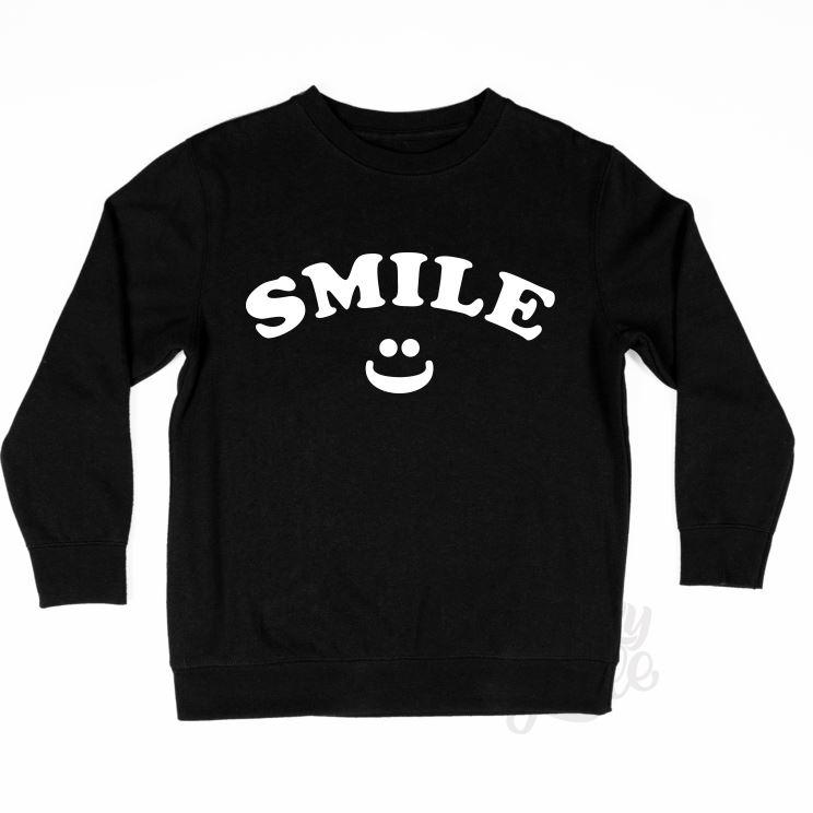 LUCKYLITTLE_KIDSSWEATER_SMILE_MONOCRHOME