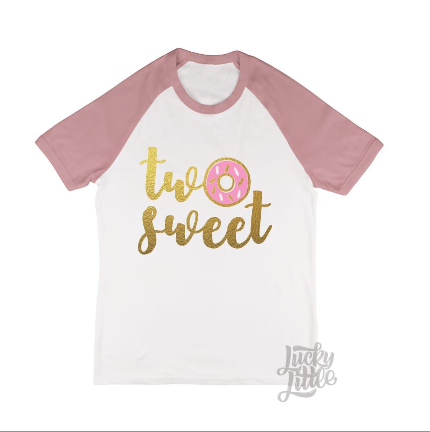 DONUT TWO SWEET | WHITE//DUSTY PINK KIDS RINGER TEE